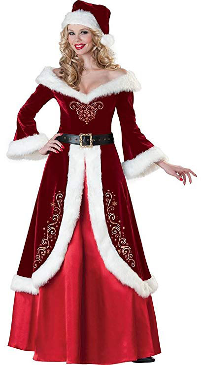 Simplecc Womens Mrs. Claus Costumes Long Dress Cosplay Outfits Christmas Costume