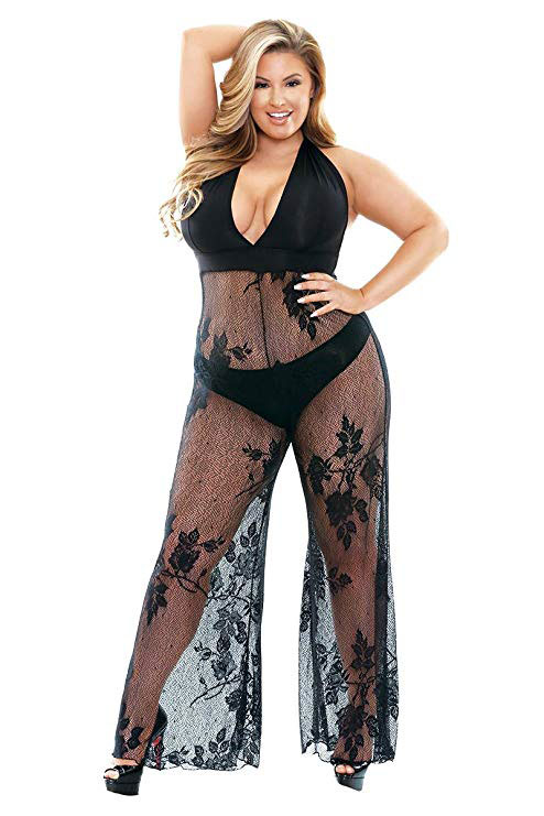 Stretch Micro Lace Halter Plus size Jumpsuit