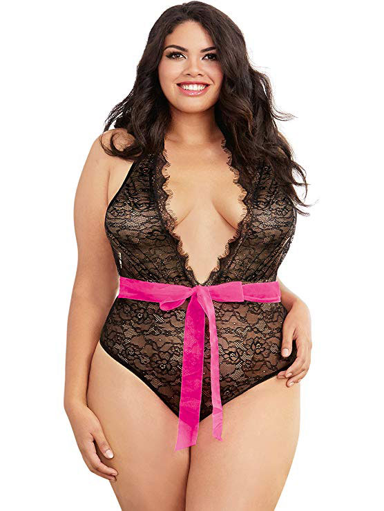 Stretch lace plunging neckline teddy