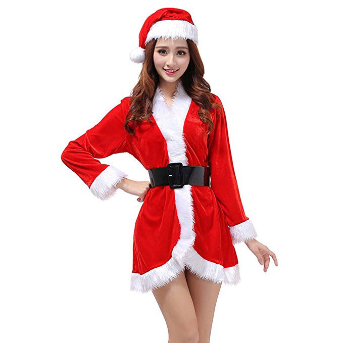Tinksky 3Pcs Womens Santa Claus Christmas Costume Cosplay XMAS Outfit Fancy Dress