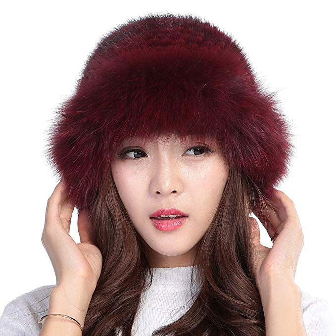 abede7c7 Valpeak Womens Winter Hat Knitted Mink Real Fur Hats Fox Brim