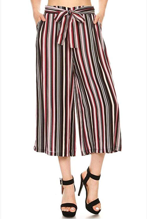 Women's Cropped Wide Palazzo Striped High Waisted Culotte Lounge Pants