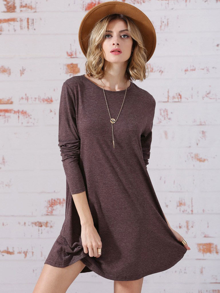 girl wearing plain brown dress