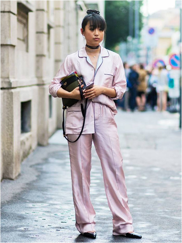 girl wearing silk pajama set