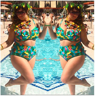 woman with full hips and thighs wearing bikini