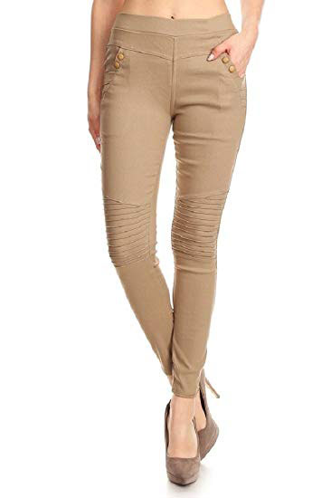 High waist pleated front skinny pants