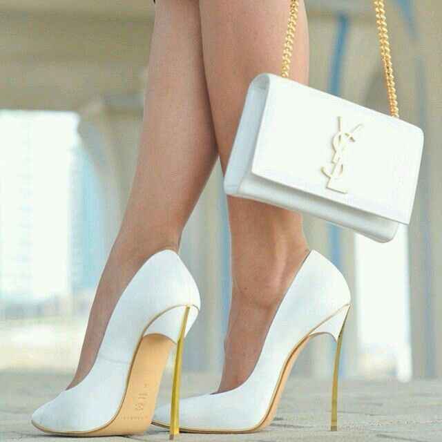 white heels and white Yves Saint Laurent purse