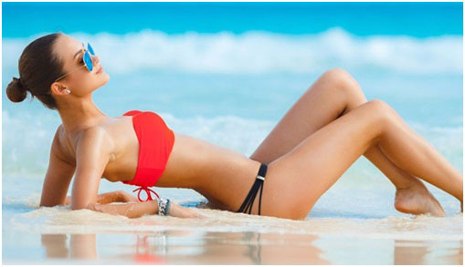 banana-shaped woman wearing a bikini