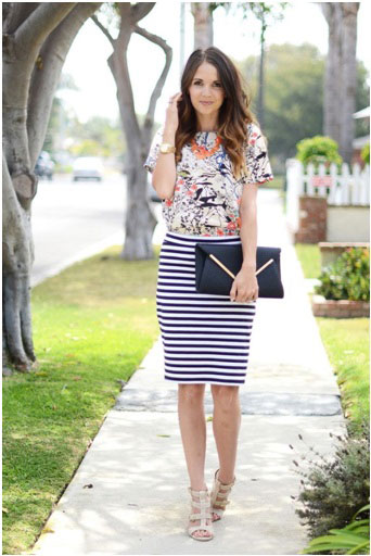 girl wearing a striped pencil skirt