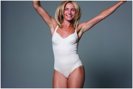 Cameron Diaz wearing a one piece swimsuit