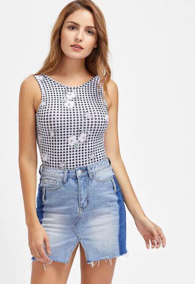 V-cut jean skirt