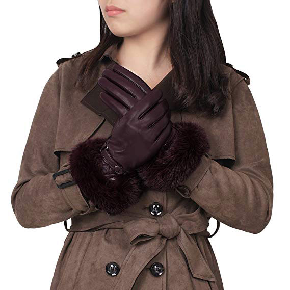 GSG Women Winter Warm Fur Leather Gloves Mittens Touchscreen Driving Gloves Fashion Rabbit Fur Trim Italian Nappa