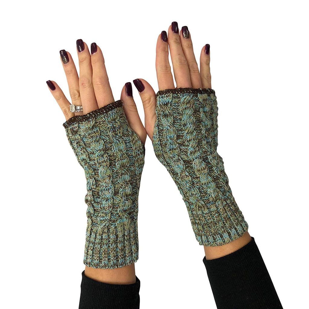 Green 3 Women's Handwarmers Made in USA (Space Dye (Soft Teal))