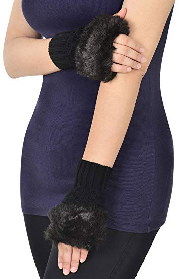 Simplicity Women's Winter Faux Fur Knit Fingerless Hand Warmer Mitten Gloves