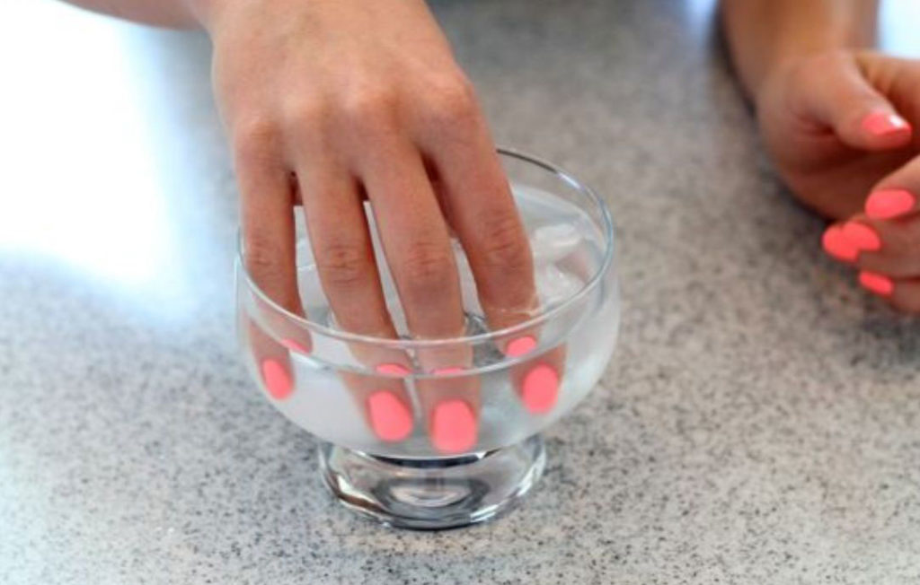 nails in ice water