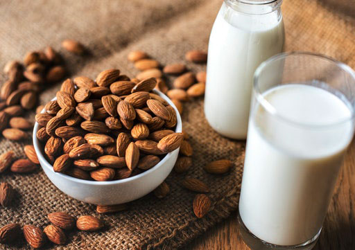 natural sources of protein - milk and almonds
