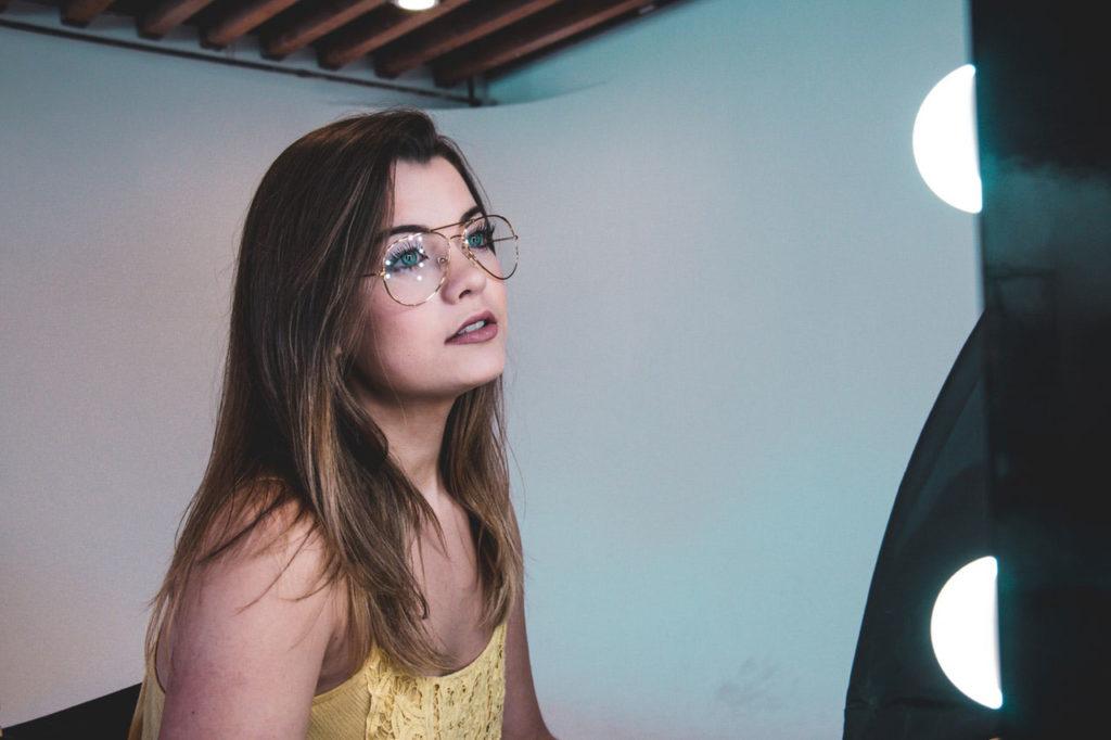 girl with aviator glasses