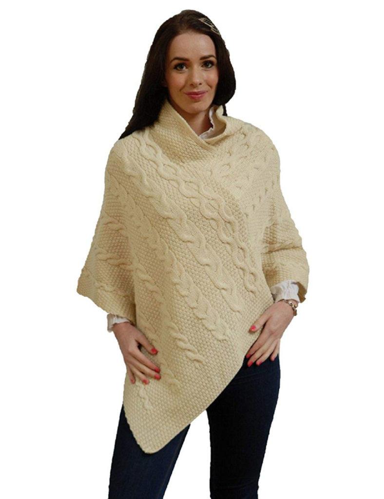 woman wearing wool poncho