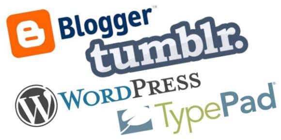 blogger, tumblr, wordpress, typepad