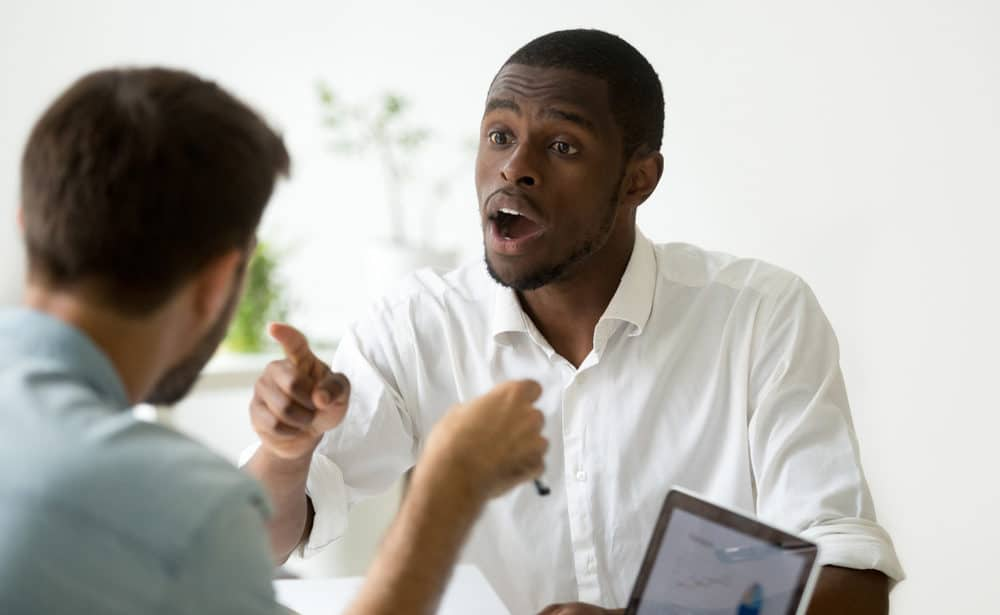 African American Businessman Disagreeing Arguing Debating Stock Photo