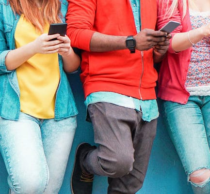 Group Friends Watching Smart Mobile Phones Stock Photo