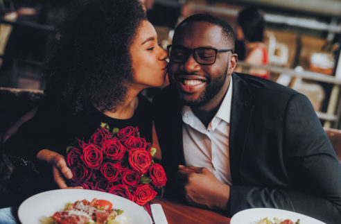 African American Couple Dating Restaurant Romantic stock image