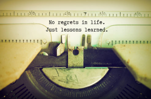 Text No Regrets Life Just Lessons Stock Photo