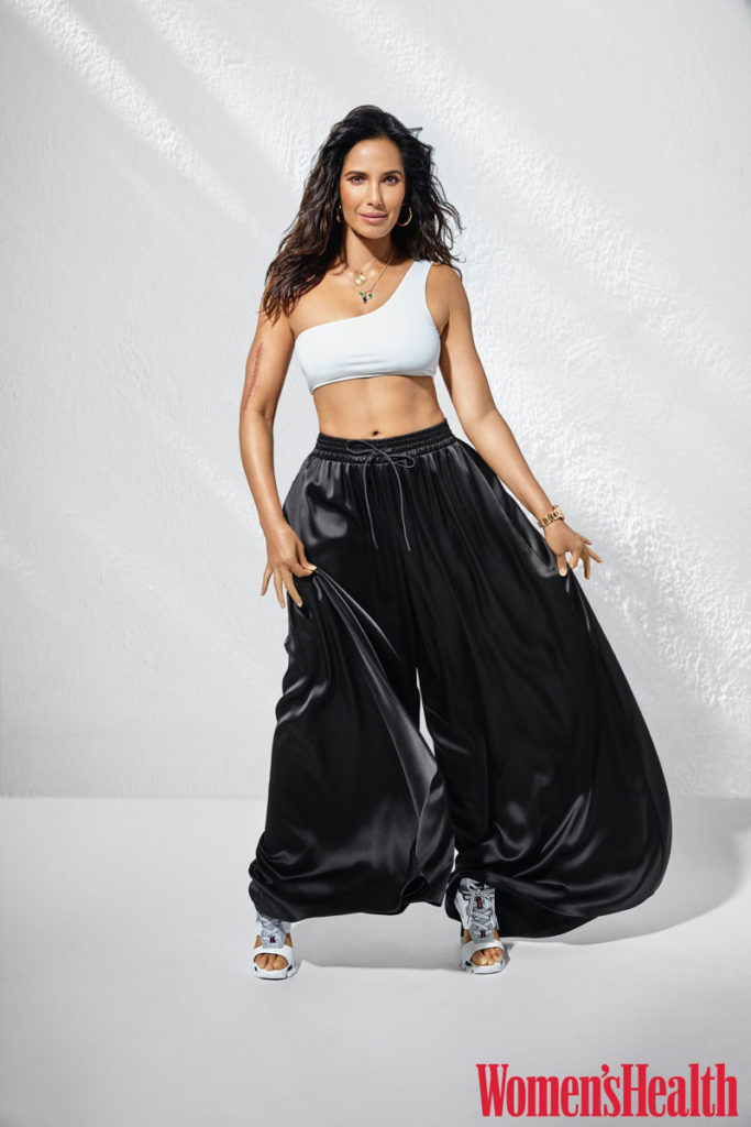 Model Padma Lakshmi tries on voluminous pants.