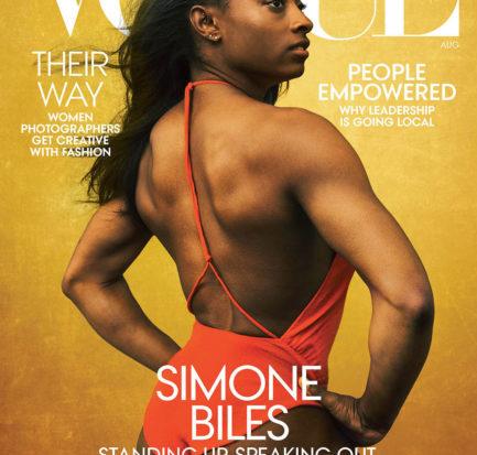 Champion gymnast Simone Biles wears a Bottega Veneta bodysuit.