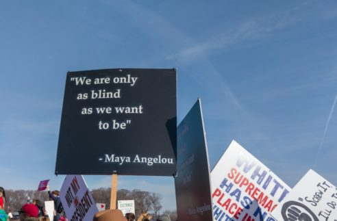"""A protester carries a sign about racism. Maya Angelou quote, """"We are only as blind as we want to be."""" at Women's March in Grant Park, Chicago on January 20, 2018."""